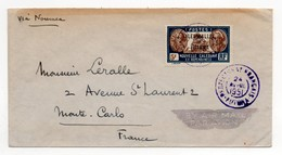 !!! PRIX FIXE : WALLIS ET FUTUNA, LETTRE PAR AVION DE 1951 POUR MONTE CARLO VIA NOUMEA - Covers & Documents