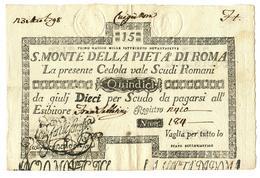 15 SCUDI CEDOLA SACRO MONTE DELLA PIETA' ROMA 01/05/1797 BB+ - Italia