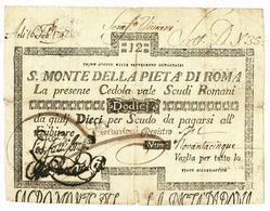 12 SCUDI CEDOLA SACRO MONTE DELLA PIETA' ROMA 01/08/1796 BB - Italia