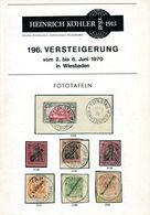 196. Köhler Briefmarken Auktion 1970 - Bildtafeln - Auktionskataloge