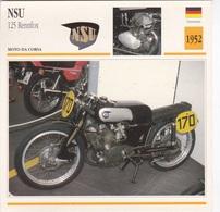 MOTO DA CORSA NSU 125 RENNFOX GERMANIA 1952 DESCRIZIONE COMPLETA SUL RETRO AUTENICA 100% - Pubblicitari