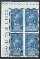 # Italia 1958/66 - Posta Pneumatica Lire 20 Quartina D'angolo MNH ** - 6. 1946-.. Repubblica