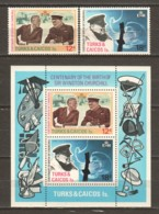 Turks & Caicos 1974 Mi 339-340 + Block 4 MNH WINSTON CHURCHILL - Sir Winston Churchill