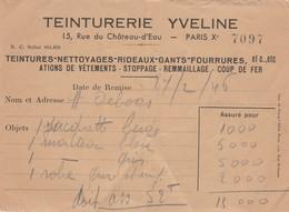 FACTURE TEINTURERIE YVELINE  15 RUE CHATEAU D.EAU PARIS 10    1946 - Vintage Kleding, Linnengoed