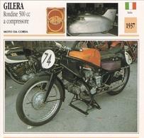 MOTO DA CORSA GILERA RONDINE 500 CC A COMPRESSORE ITALIA 1937 DESCRIZIONE COMPLETA SUL RETRO AUTENTICA 100% - Pubblicitari