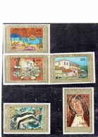 """FRENCH POLYNESIA 1975 - AIRMAIL -""""ARTISTS IN POLYNESIA """"SERIE OF 5 ST. OF 20-40-60-80-100 F- MARCEL MARIUS-ANGLADE-DAY- - Airmail"""