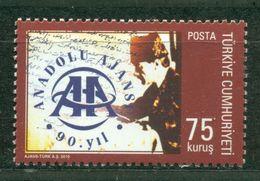 AC - TURKEY STAMP - 90th ANNIVERSARY OF ANATOLIAN AGENCY MNH 06 APRIL 2010 - 1921-... République