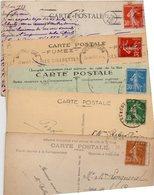 FRANCE..TIMBRE TYPE SEMEUSE CAMEE...VOIR DETAIL.....LOT DE 48 SUR CPA....VOIR SCAN......LOT 9 - 1906-38 Semeuse Camée