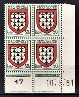 FRANCE 1951 - BLOC DE 4 TP / Y.T. N° 900 - NEUFS** COIN DE FEUILLE / DATE - Coins Datés
