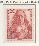 PIA - GERMANIA - 1957  : 350° Anniversario Della Nascita Del Poeta Paul  Gerhardt  -   (Yv 132) - Nuovi