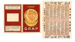 Calendrier 1958 - Vins GRAP (G.R.A.P.) - Calendriers