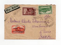 !!! PRIX FIXE : LETTRE PAR AVION DE PLAINE DES PALMISTES DU 21/1/1937, 1ERE LIAISON AERO REUNION - FRANCE SANS SURTAXE - Réunion (1852-1975)