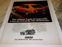 ANCIENNE PUBLICITE VOITURE 128 BERLINETTA  DE FIAT 1975 - Publicités