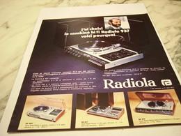 ANCIENNE   PUBLICITE COMBINE HI FI  RADIOLA  1975 - Plakate & Poster