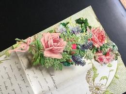 Lettre Ancienne 1er Janvier 1911 Tour Doré Et Vert De Fleurs Gaufrées Bouquet Roses Et Lilas à Système - Fleurs