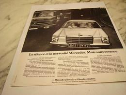ANCIENNE PUBLICITE SILENCE ET NERVOSITE VOITURE MERCEDES 1975 - Cars