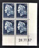 FRANCE 1967 - BLOC DE 4 TP / Y.T. N° 1535 - NEUFS** COIN DE FEUILLE / DATE - 1960-1969