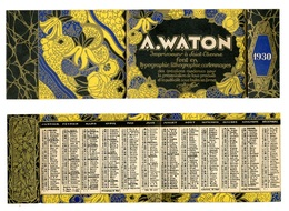 Calendrier 1930 - Imprimeur A. WATON à St Etienne (fin De L'Art Déco) - Kalenders
