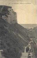 CARTE-TISSEE RECTO/VERSO .60. LE TREPORT . ASCENTION DES FALAISES . AFFR AU VERSO LE 1-2-1908 . 2 SCANES - Le Treport