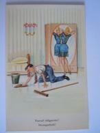 Humor Humour Travail Obligatoire Dwangarbeid Homme Qui Nettoye, Femme Devant Miroir, Man Poetst Edit Belgique JC 13 - Humour