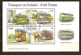 Ierland Irlande Ireland 1987 Yvertnr. Bloc 6 (o) Oblitéré Cote 10.00 Euro Tramways - Hojas Y Bloques