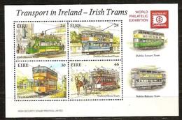 Ierland Irlande Ireland 1987 Yvertnr. Bloc 6 *** MNH Cote 10.00 Euro Tramways Hafnia 87 - Blocs-feuillets