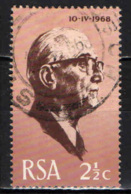 SUD AFRICA - 1968 - J. J. FOUCHE' - PRESIDENTE DEL SUD AFRICA - USATO - Sud Africa (1961-...)