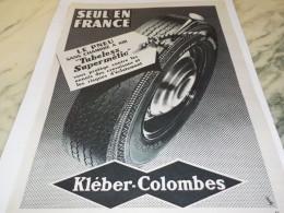 ANCIENNE PUBLICITE SEUL EN FRANCE  KLEBER COLOMBES 1955 - Voitures