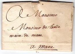 Lettre  Envoyée D' AIX 1775 Au Maire De MANE  Mr DE TENDE - Marcofilie (Brieven)