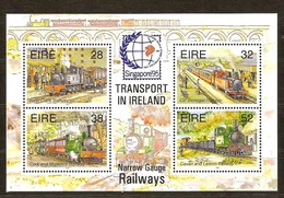 Ierland Irlande Ireland 1995 Yvertnr. Bloc 20 *** MNH Cote 9.00 Euro Chemin De Fer Trains Treinen Singapore '95 - Blocs-feuillets
