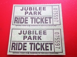 JUBILEE PARK SHAMOKIN Shamokin PA CHRISTIANI AMUSEMENTS RIDE COUPON  Ticket Single  Billet Ticket PENSILVANIE USA - Tickets - Vouchers