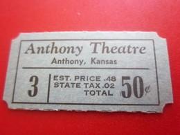 ANTHONY THEATRE  Ticket Single  Billet Ticket KANSAS  USA - Tickets - Vouchers