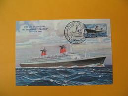 Carte-Maximum 1962  N°  1325 Premier Voyage Du Paquebot France  Voyage Inaugural Le Havre - 1960-69