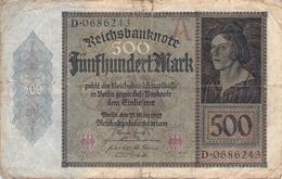 500 Mark Reichsbanknote VG/G (IV) - [ 3] 1918-1933 : Repubblica  Di Weimar