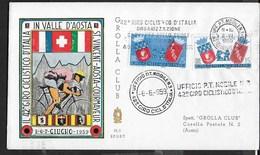 "ANNULLO A TARGHETTA "" 42° GIRO CICLISTICO D'ITALIA..."" UFF.PT.MOBILE N3./42° GIRO D'ITALIA - 06.06.1959 SU BUSTA GIROLLA - Ciclismo"