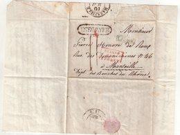 """SUISSE : MARQUE POSTALE . """" ESTAVAYER """" . ENCADREE . LG 10K EN BLEU . ET SUISSE PAR FERNEY . TAXEE . 1838 . - ...-1845 Prefilatelia"""