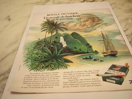 ANCIENNE PUBLICITE FRAICHEUR ET PASSION ROYALE MENTHOL 1976 - Raucherutensilien (ausser Tabak)