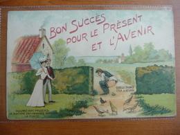 """CPA - """"Bon Succès Pour Le Présent Et L'avenir - Allumez ... La Matière Enflammable- Phototypie La Mouche Braine L'Alleud - Humor"""