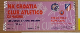 Football Ticket NK Croatia: Club Athletico Madrid UEFA  Cup 25.11.1997 - Tickets D'entrée