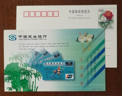 Red-crowned Crane Bird,credit Card,bamboo,China 2001 Mingsheng Banking Corporation Holiday Greeting Pre-stamped Card - Grues Et Gruiformes