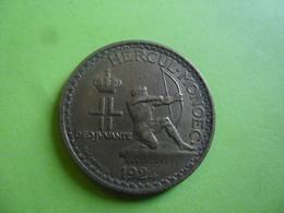MONACO 2 FRANCS 1924 - Louis II, Poissy, Aluminium-Bronze, KM:112  - TIR à L'ARC - Monaco