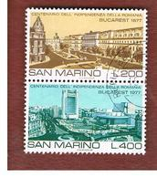 SAN MARINO - UNIF. 992.993  - 1977 VEDUTE DI BUCAREST (SERIE COMPLETA IN COPPIA SE-TENANT)  -  USATI (USED°) - Saint-Marin