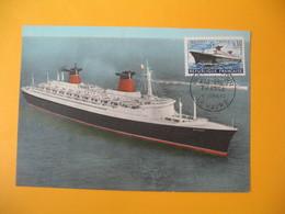 Carte-Maximum 1962 N° 1325 Cachet Premier Jour Premier Voyage Du Paquebot France Voyage Inaugural Le Havre - Maximumkaarten