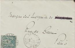 Yvert 75 Sage Lettre LSC TAMARIS Sur Mer Var 20/6/1898 à Paris - Storia Postale