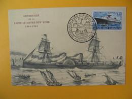 Carte  1964 N° 1325 Centenaire De La Ligne Le Havre - New-York 1864-1964 Cie Gle Transatlantique - Poststempel (Briefe)