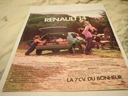 ANCIENNE PUBLICITE BONHEUR LA 14 VOITURE RENAULT 1976 - Cars