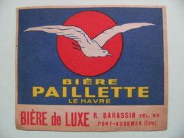 Etiquette Bière PAILLETTE - Etablissements R.Barassin à Pont-Audemer 27 - Normandie   A Voir ! - Beer