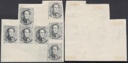 BELGIQUE TYPE MEDAILLON ESSAIS MOLETTE DE 1929 BLOC DE 7 1c NOIR   (DD) DC-3602 - Proofs & Reprints