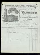 FACTURE 1892 VERRERIE CRISTAUX PORCELAINE TISSIER FAUBOURG SAINT DENIS PARIS 90 RUE DE RIVOLI PARIS TOUR SAINT JACQUES - France