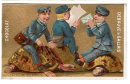 Carte Réclame / Chromo Chocolat Debauve Et Gallais -  Facteurs Diligents / Tortues - Lith. L. Pacon - Fond Or/doré - Chocolat